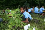 YMCA kids garden harvest